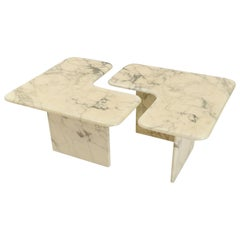 Pair of Italian Calacatta Marble Corner Coffee Tables, circa 1980