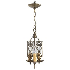 Chandelier, American Made of Solid Brass from a circa 1908 Arts & Craft Home