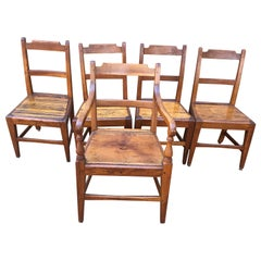 Charming Set of Farmhouse Rustic Honey Colored Pine Dining Chairs