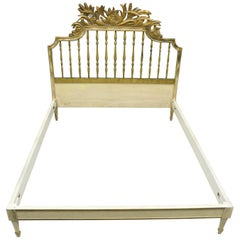 Antique French Louis XV Style Italian Distress Painted Full Size Bed Frame