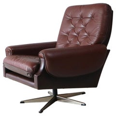 1960s Danish Midcentury Leather Swivel Lounge Chair