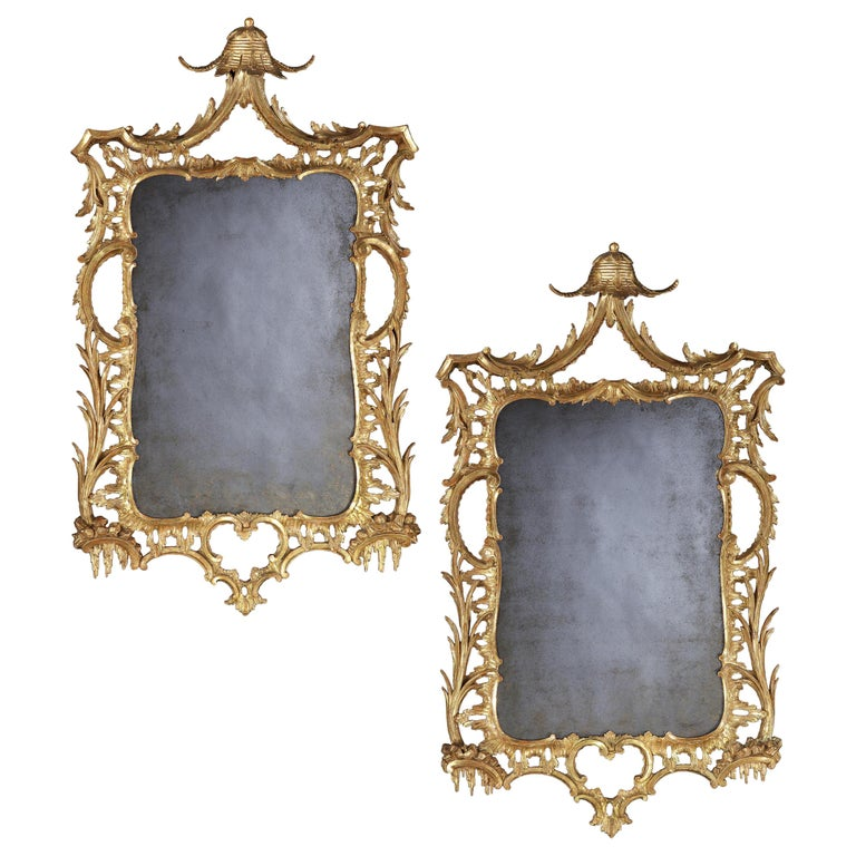 Pair of George III Carved and Gilded Mirrors 1