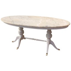 20th Century, French Patinated Oval Table, 1950s