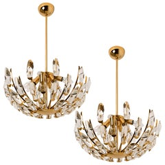 Pair of Stilkronen Crystal and Gilded Brass Italian Light Fixtures