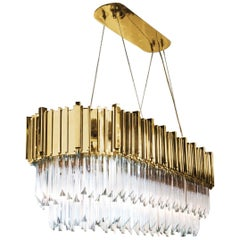 Ambassador Long Oval Chandelier with Crystal Glass Pendants