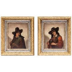 P. Robert, Pair of Oil on Panels Figuring Children with Hats, 19th Century