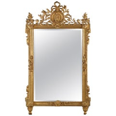 Fine Louis XVI Style Carved Giltwood Mirror, circa 1890