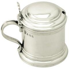 Antique George V Britannia Standard Silver Mustard Pot