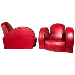 Pair of 1950s Lounge Chairs in Faux Leather