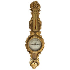 By Moreau, French Louis XV Period Decorative Barometer-Thermometer, circa 1770