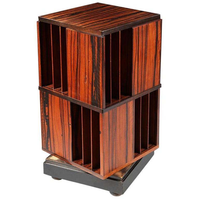 Macassar Ebony Revolving Bookcase For Sale