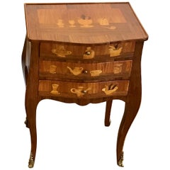 Louis XVI Style King and Tulip Wood Marquetry End Table