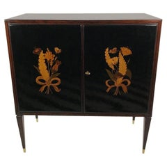 Giuseppe Anzani Inlaid Black Lacquer and Mahogany Dry Bar
