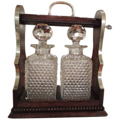 English Crystal Tantalus in Locked Wooden Case by Rodolfo Eisler