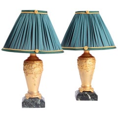 Paul Louchet, Pair of Gilt Bronze Bedside Lamps, Art Nouveau Period
