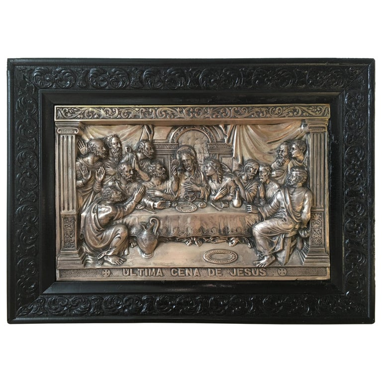 """20th Century """"The Last Supper"""" Metal Relief For Sale"""