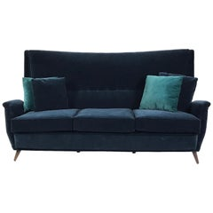 Gio Ponti 3-Seat Wingback Sofa Newly Upholstered in Blue Velvet