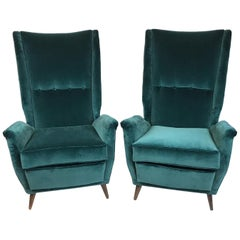 Gio Ponti Pair of High Back Armchairs Newly Upholstered in Teal Velvet