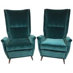 Gio Ponti Paar Sessel mit Hoher Lehne Neu Gepolstert in Petrol / Samt