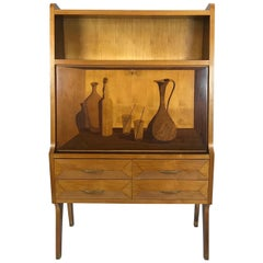 1950s Italian Dry Bar Cabinet in Wood with Inlaid Door
