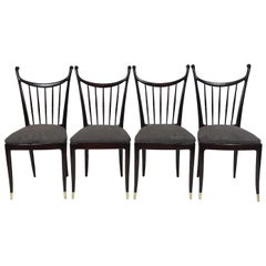 Paolo Buffa Designed 4 Dining Chairs in Mahogany with Newly Upholstered Seats