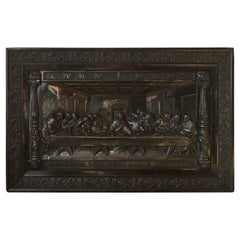 "20. Jahrhunderts Dunkler Metallrelief ""The Last Supper"""