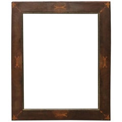19th Century Italian Charles X Inlay Walnut Wood Frame