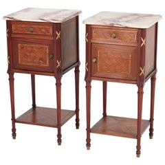 Pair of French Louis XV Style Mahogany Nightstands or Bedside Tables, 1920s