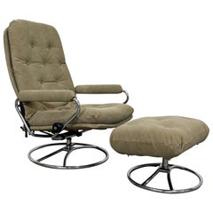 Mid-Century Modern Ekornes Stressless Chrome Lounge Chair and Ottoman
