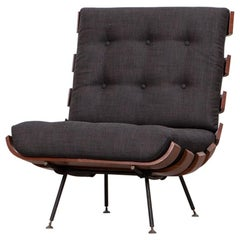 1950s Black and Brown Lounge Chair by Martin Eisler and Carlo Hauner