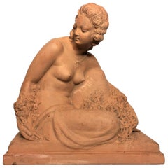 "Bouraine Marcel André ""Woman with Flowers"" Art Deco Terracotta Signed circa 1930"