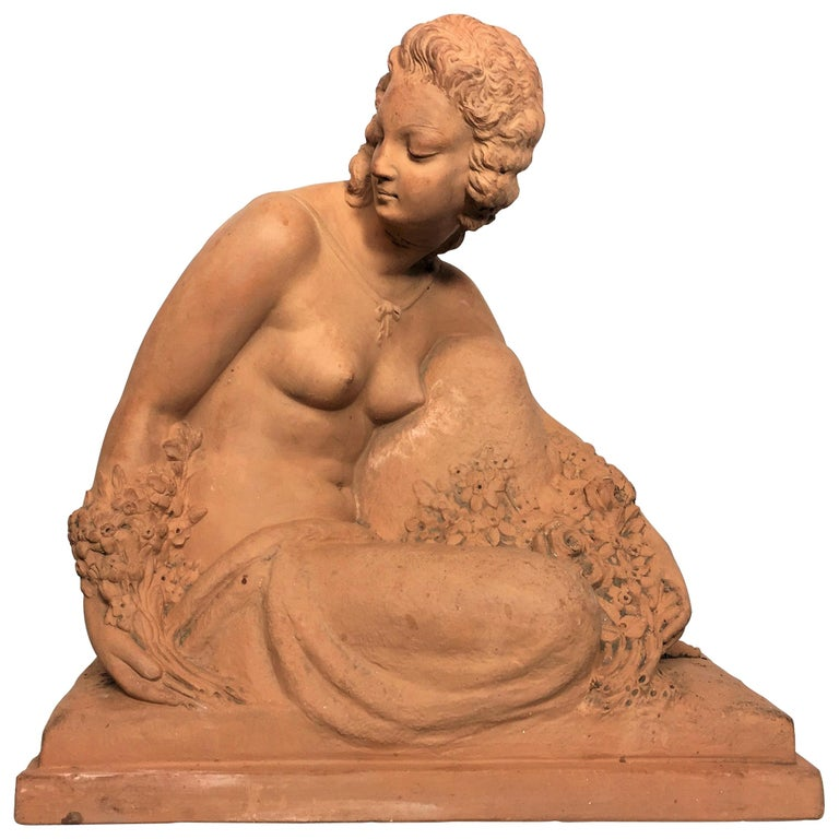 """Bouraine Marcel André """"Woman with Flowers"""" Art Deco Terracotta Signed circa 1930 For Sale"""