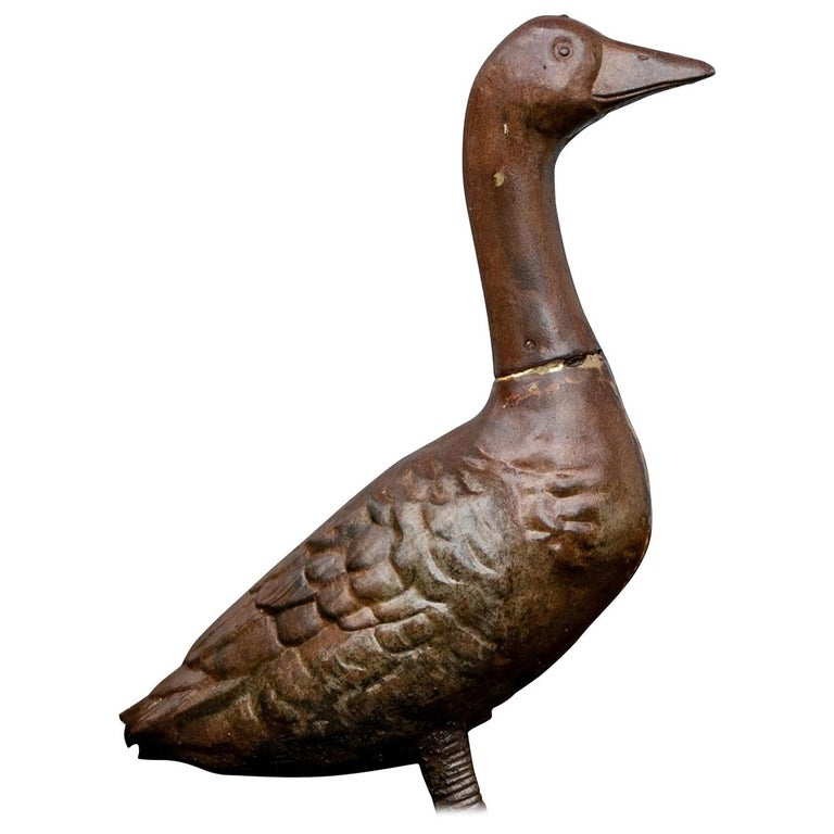Antique Iron Goose Garden Figure For Sale