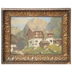 20th Century Italian Oil Painting Mountain Landscape with Frame
