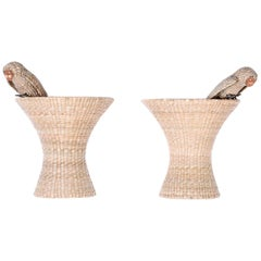 Pair of Mario Torres Wicker Owl Wall Ornaments or Sconces