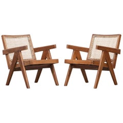 1950s Brown Wooden Teak and Cane Lounge Chairs by Pierre Jeanneret 'e'