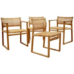 Børge Mogensen, Dining Chairs in Oak and Woven Cane, Denmark, 1957