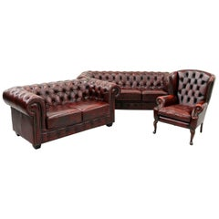 Chesterfield Sofa Leather Antique Vintage Couch English Armchair Old