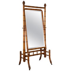 19th Century French Faux-Bamboo Cheval Mirror