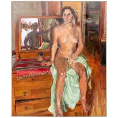 Very Large Vintage Oil on Canvas of a Seated Nude