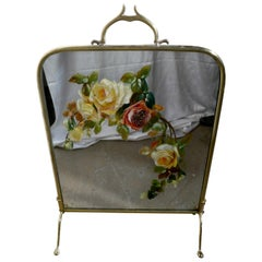 Victorian Brass and Roses Painted Mirror Fire Screen