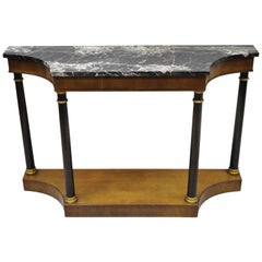 French Empire Style Marble Top Console Hall Table with Columns by Fine Arts Furn