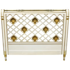 French Neoclassical Style Italian Shell Carve Lattice Queen Size Bed Headboard
