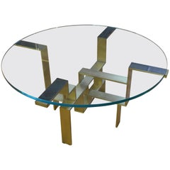 In-Stock Metropolis Glass Top Polished Brass Base Table