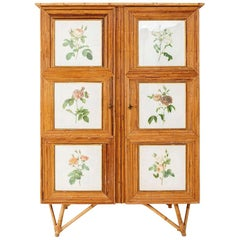 Rattan Armoire Adorned with Flowers Engravings, circa 1960