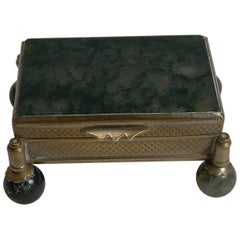 Antique French Moss Agate Box, circa 1900
