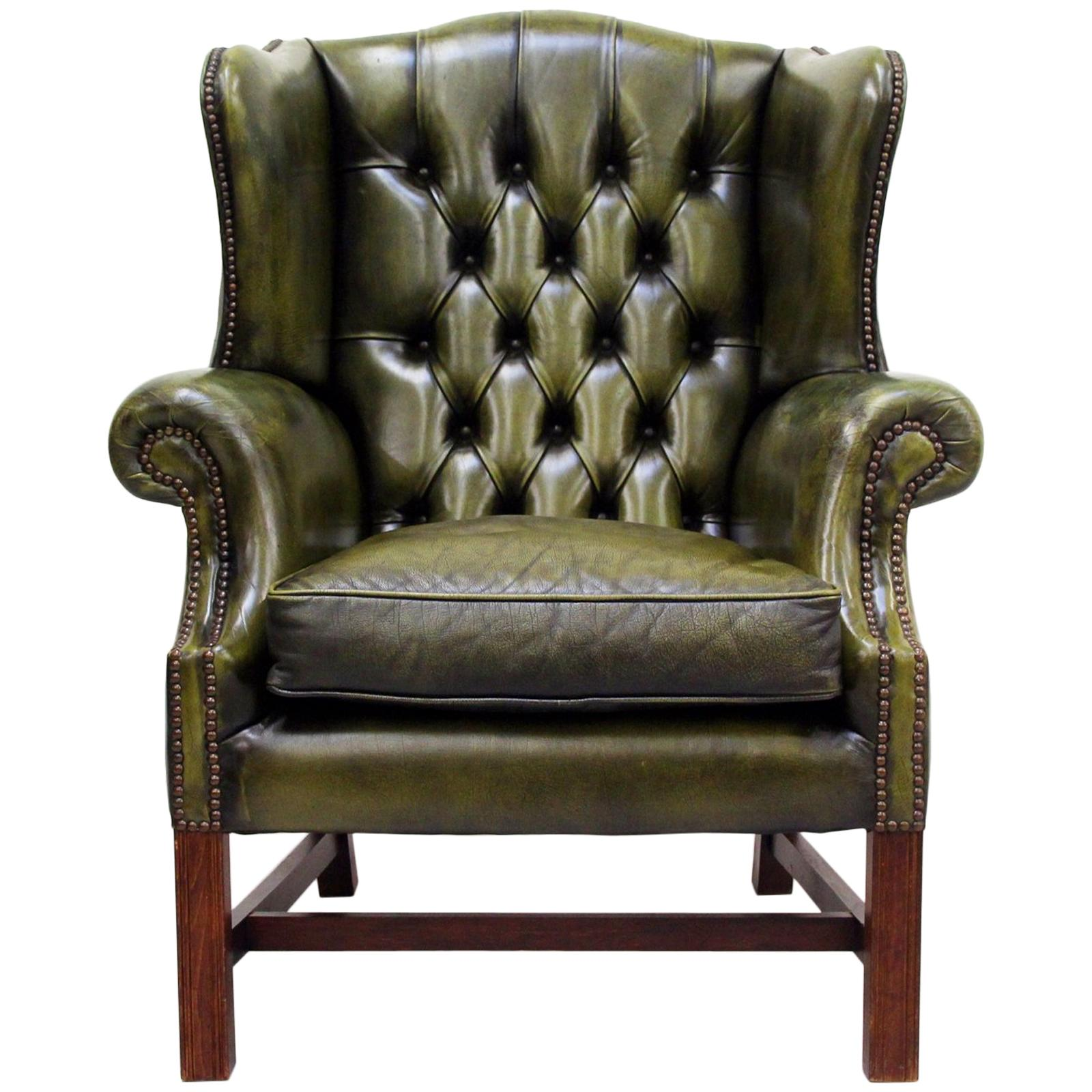 Green Leather Armchairs 178 For Sale On 1stdibs
