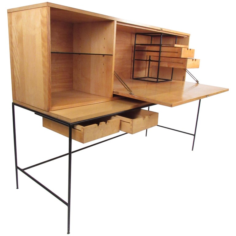 Stunning Midcentury Paul McCobb Planner Group Two-Piece Desk For Sale