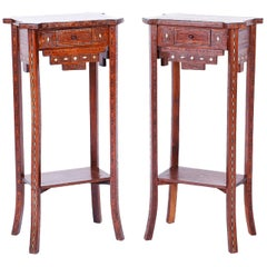 Pair of Antique Syrian Inlaid Stands or Tables