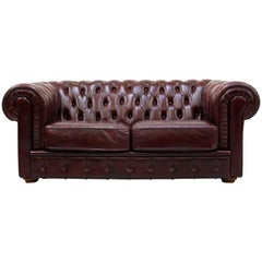 Chesterfield English Sofa Leather Antique Vintage Couch Chippendale